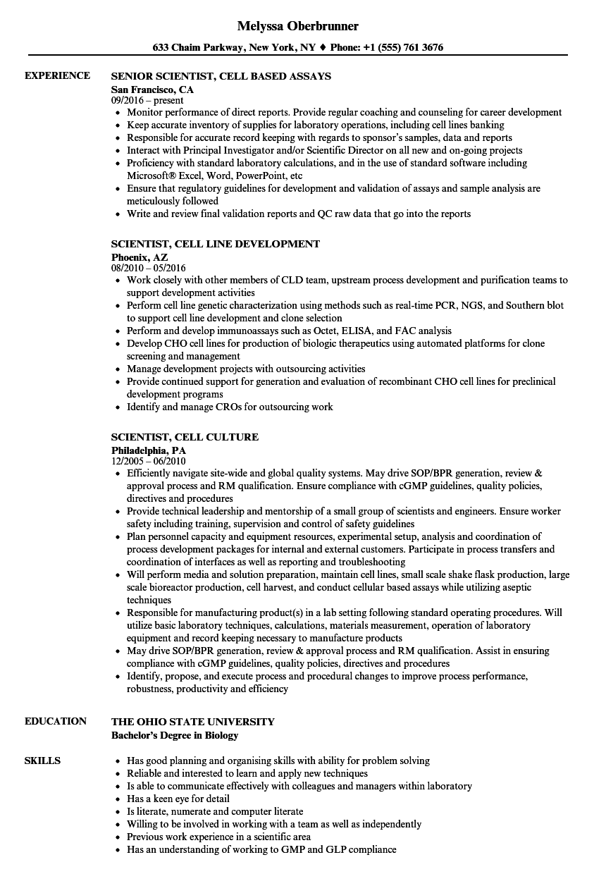 cell culture specialist resume sample