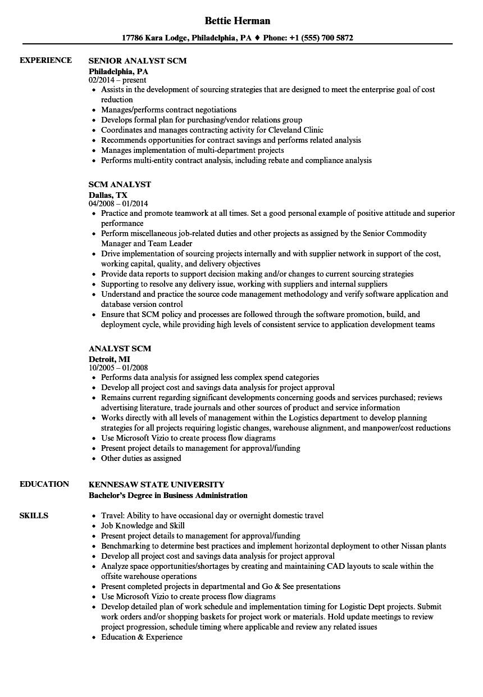 SCM Analyst Resume Samples Velvet Jobs