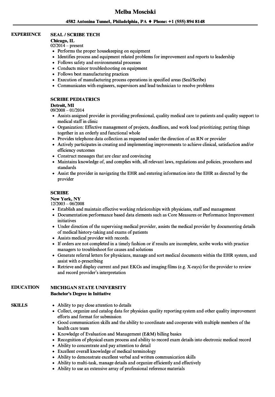 Scribe Resume Samples Velvet Jobs