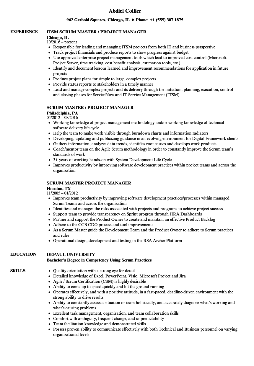 Scrum Master Project Manager Resume Samples Velvet Jobs
