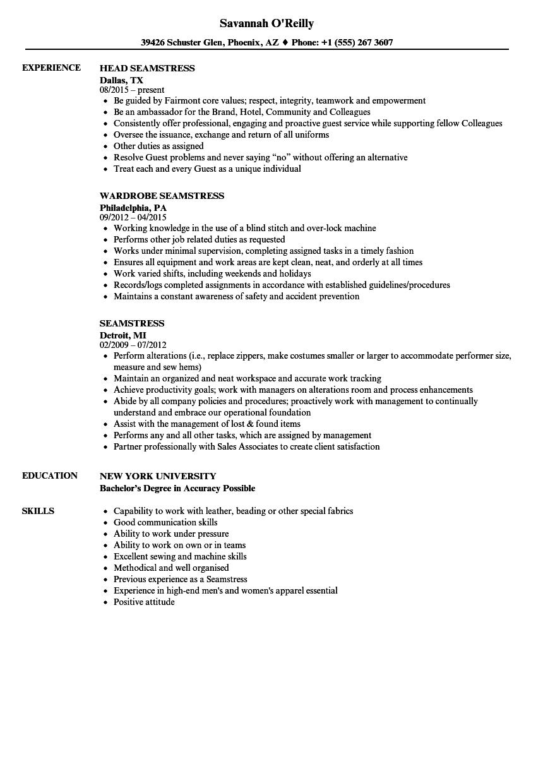 sample sewing resume
