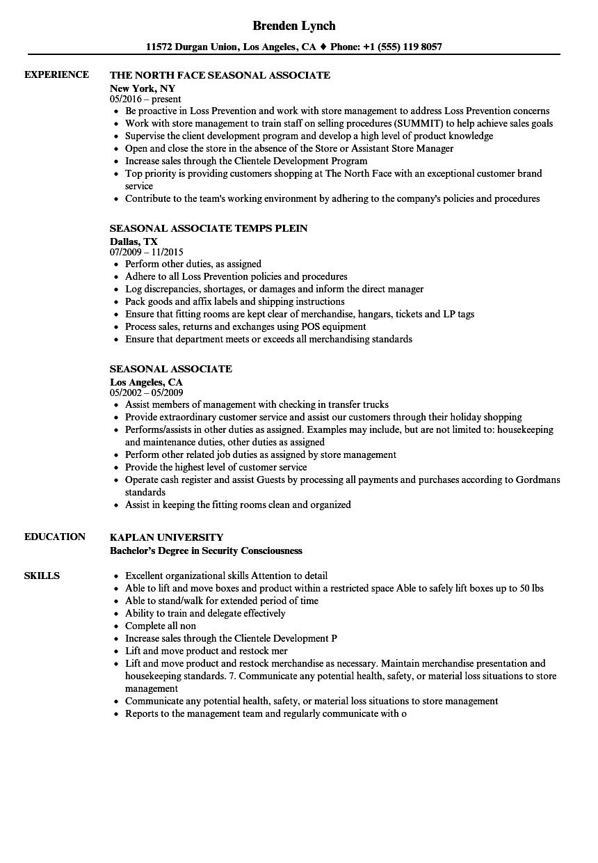 Seasonal Associate Resume Samples Velvet Jobs