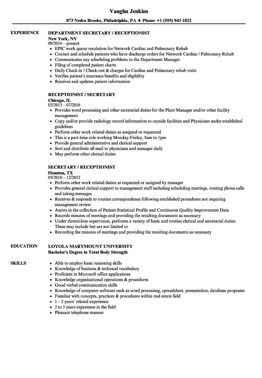 resume sample for insurance receptionist