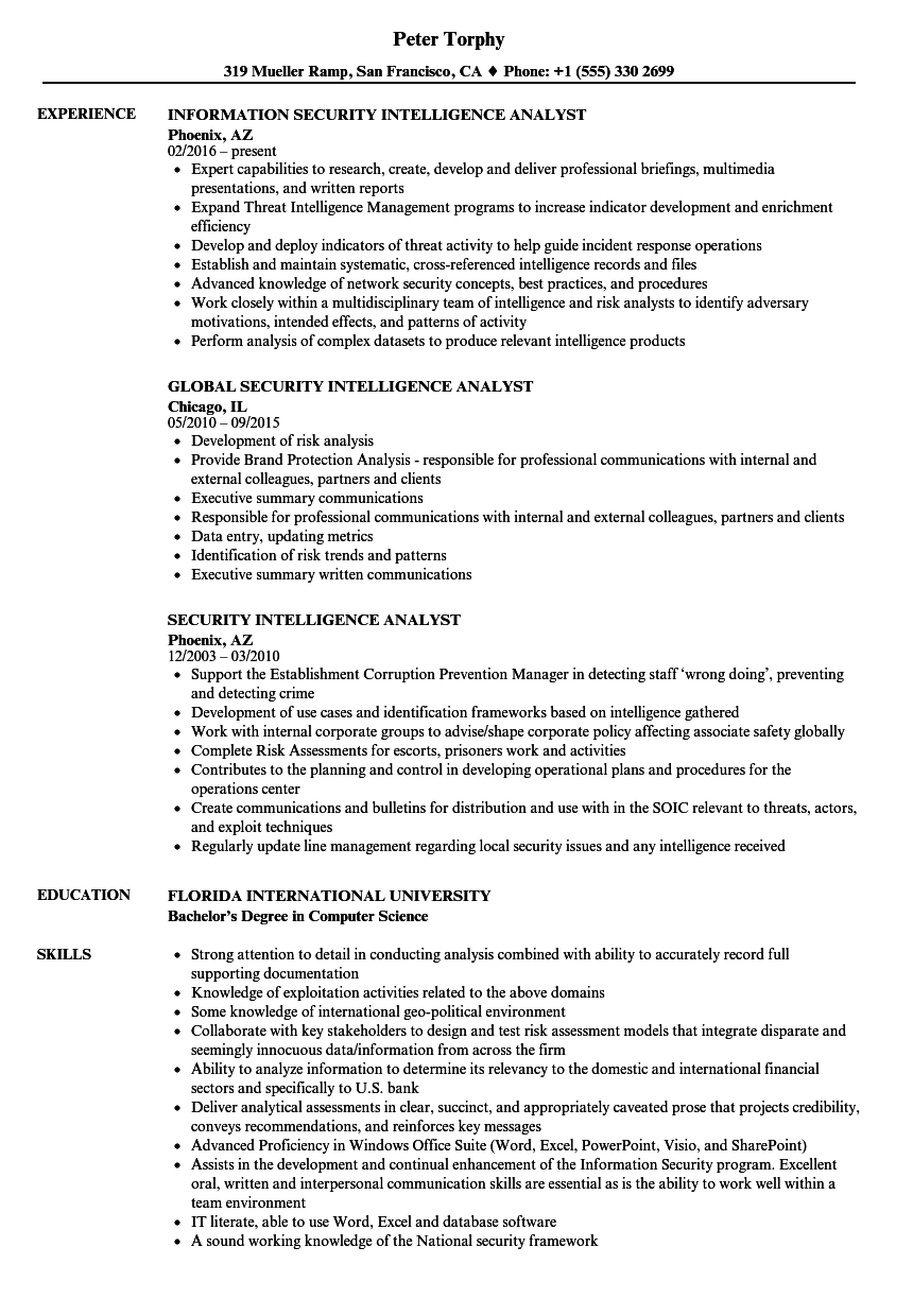 Download Security Intelligence Analyst Resume Sample As Image File