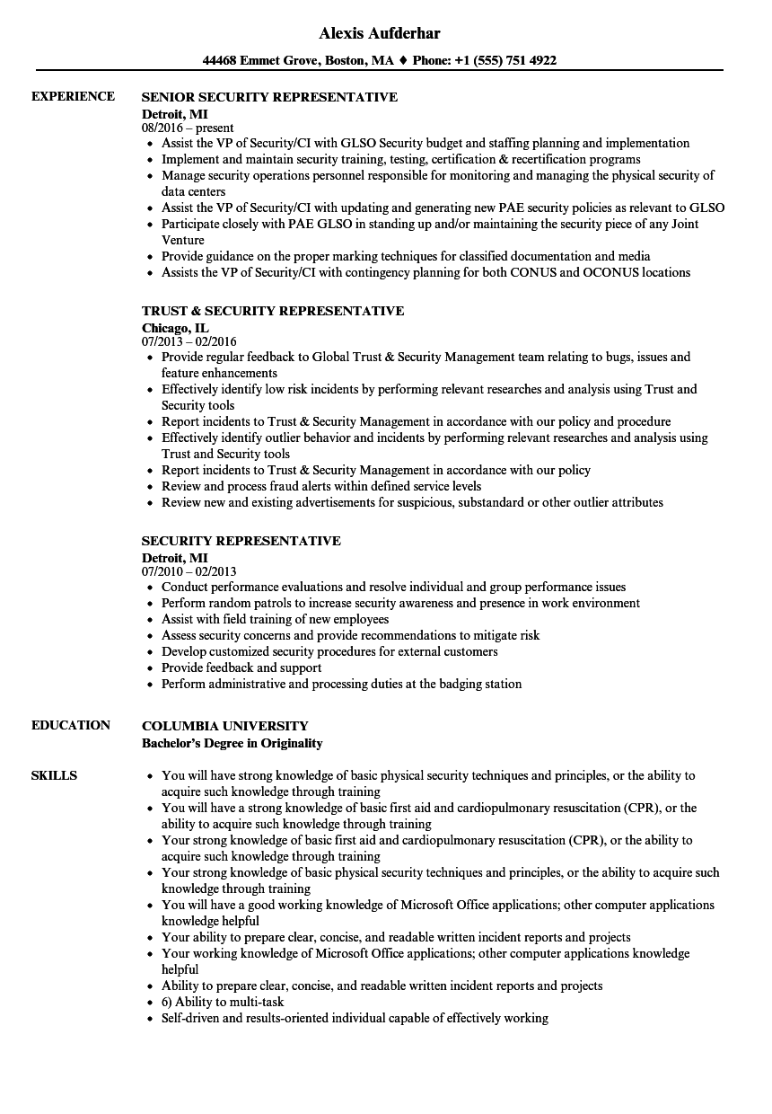 Security Representative Resume Samples Velvet Jobs