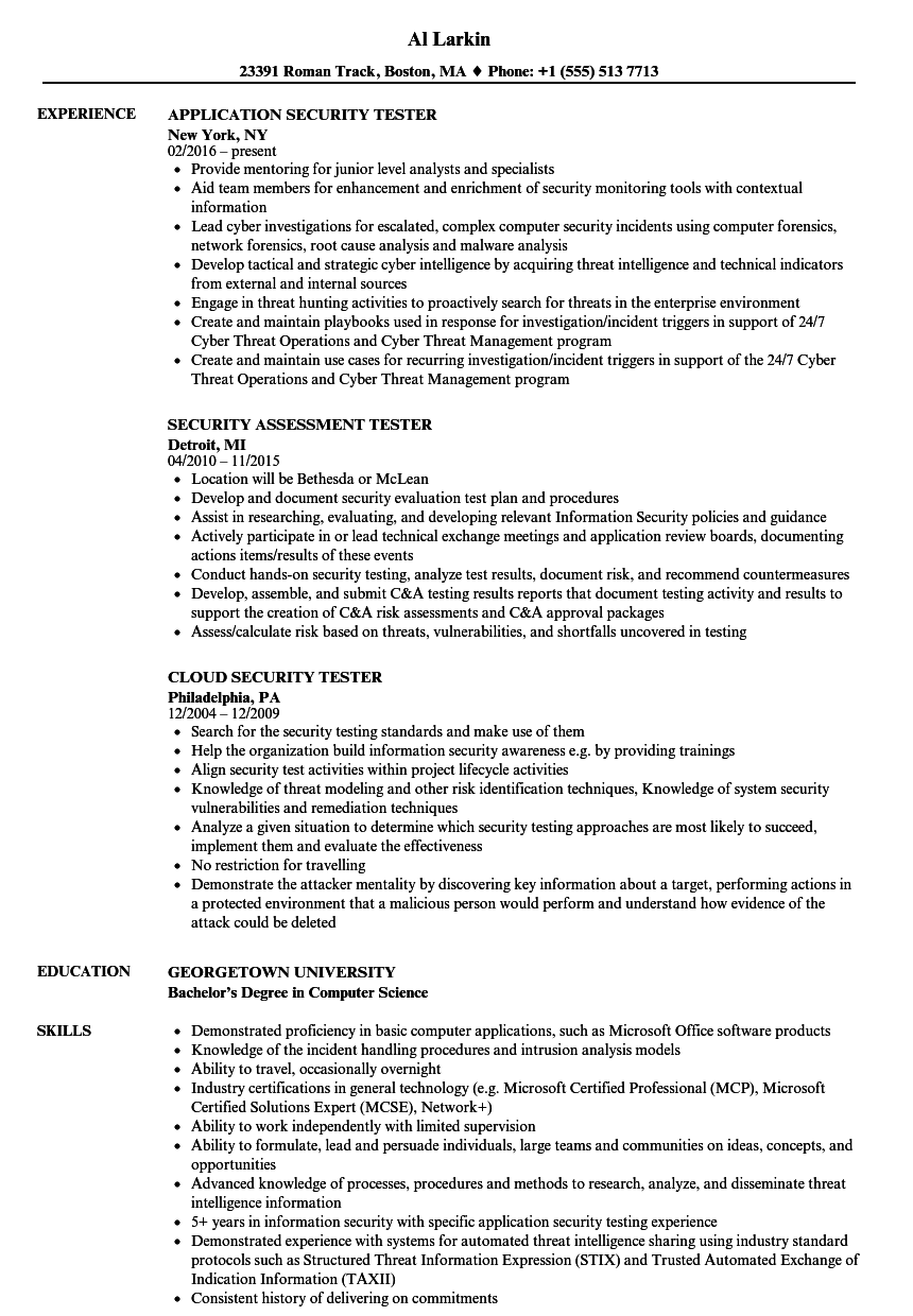 Security Tester Resume Samples Velvet Jobs