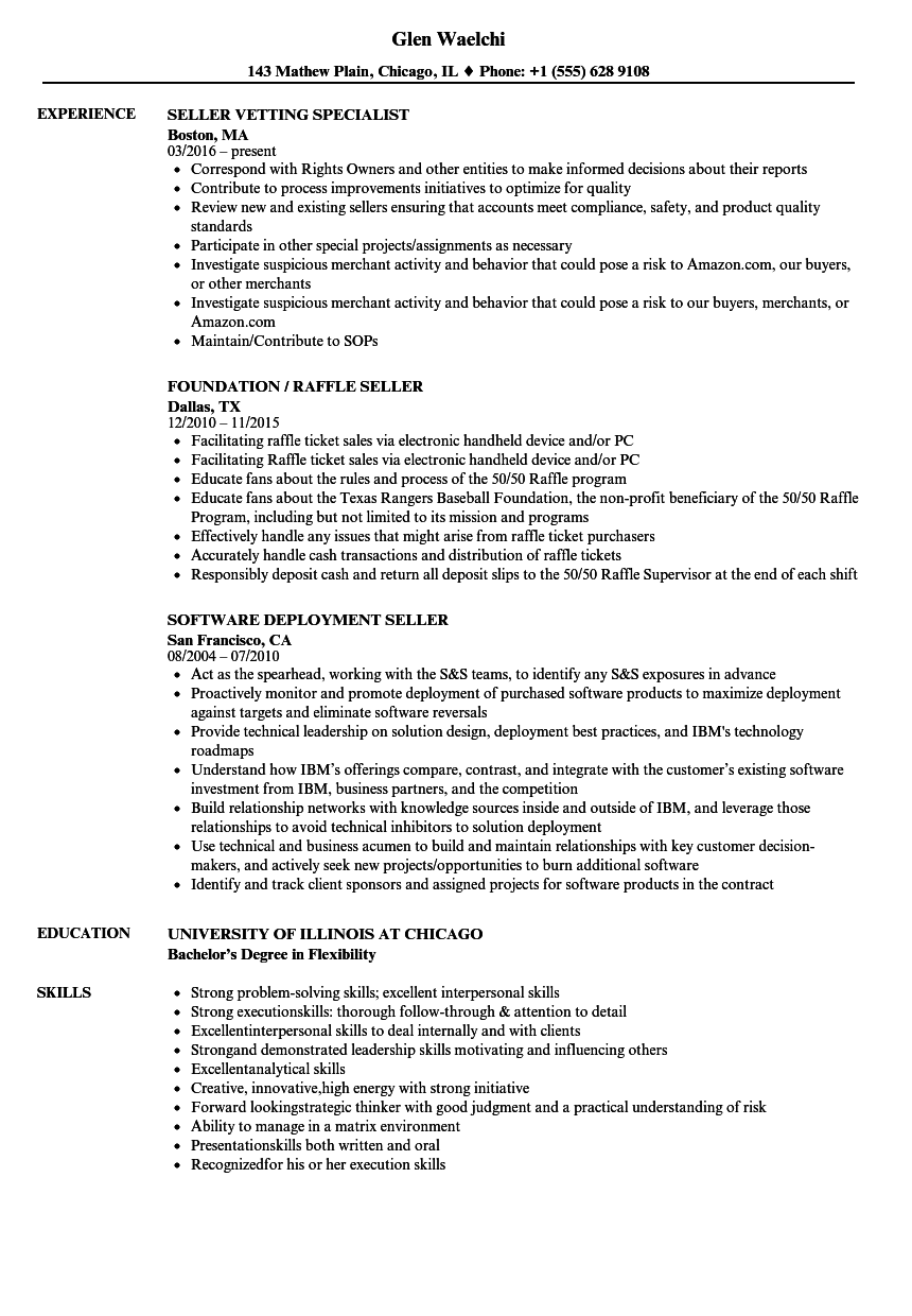 Seller Resume Samples Velvet Jobs