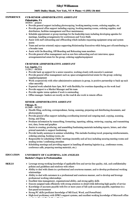 senior admin assistant resume sample