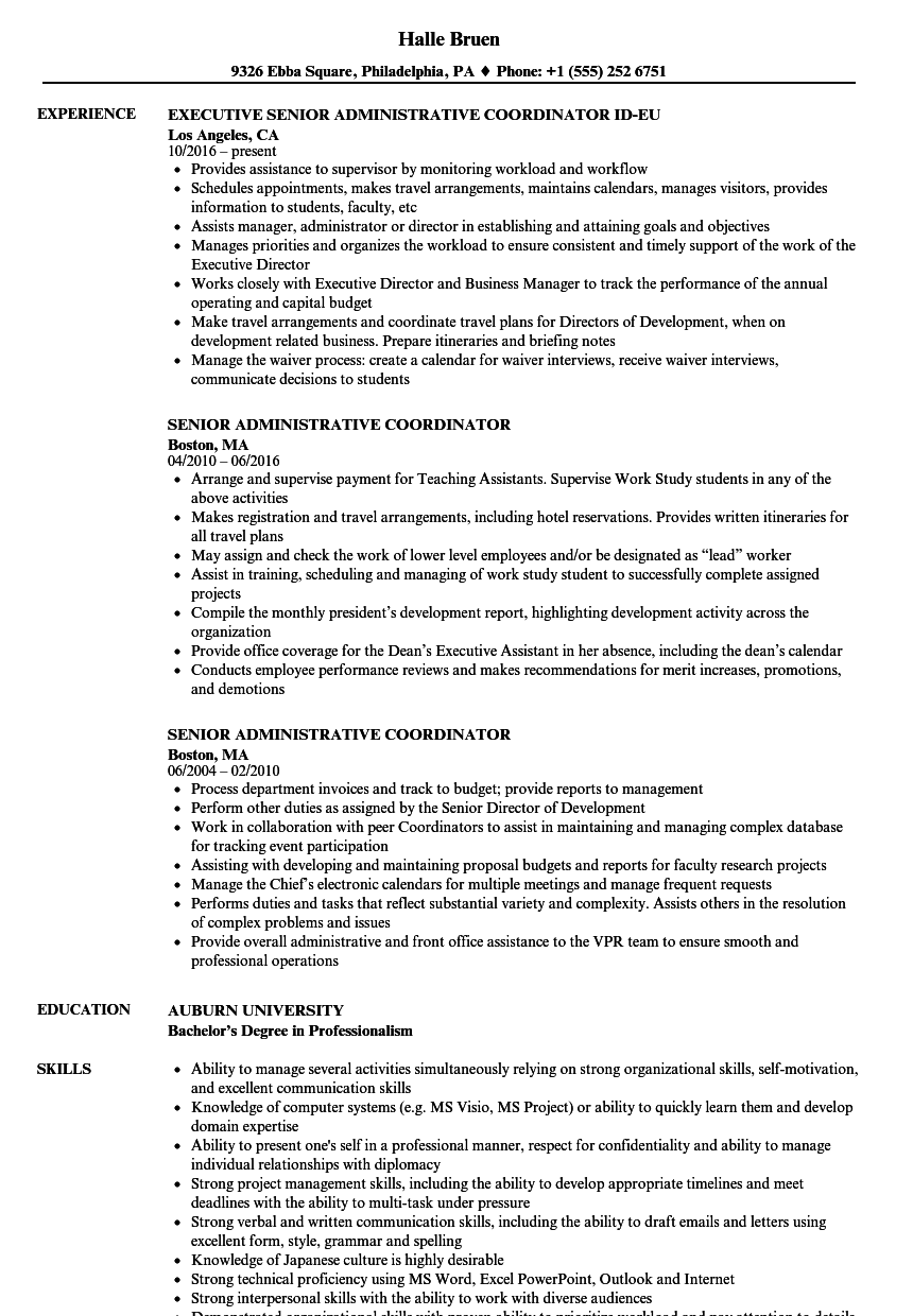 Senior Administrative Coordinator Resume Samples Velvet Jobs