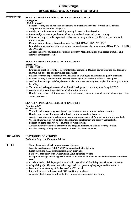 application security engineer resume sample