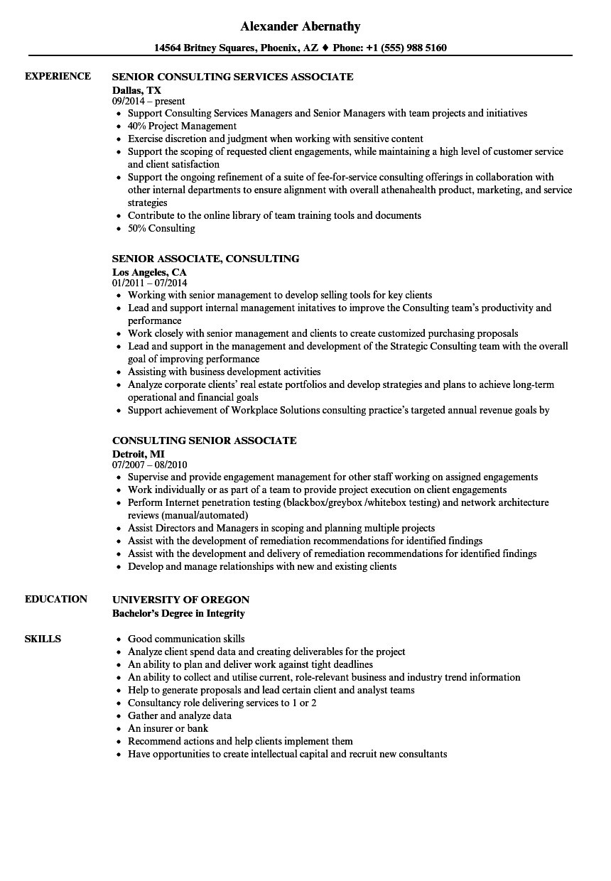 Download Senior Associate, Consulting Resume Sample As Image File