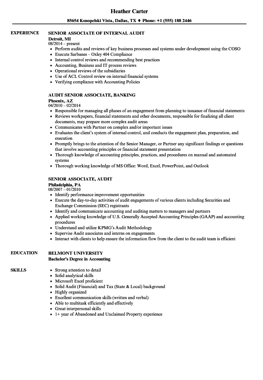 experienced senior audit assoate resume example