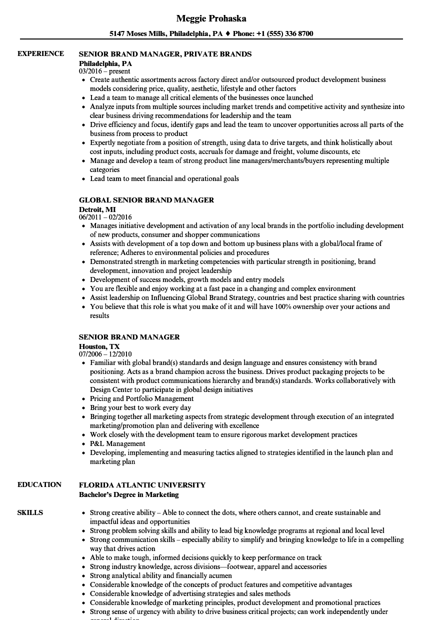 brand representative resume sample