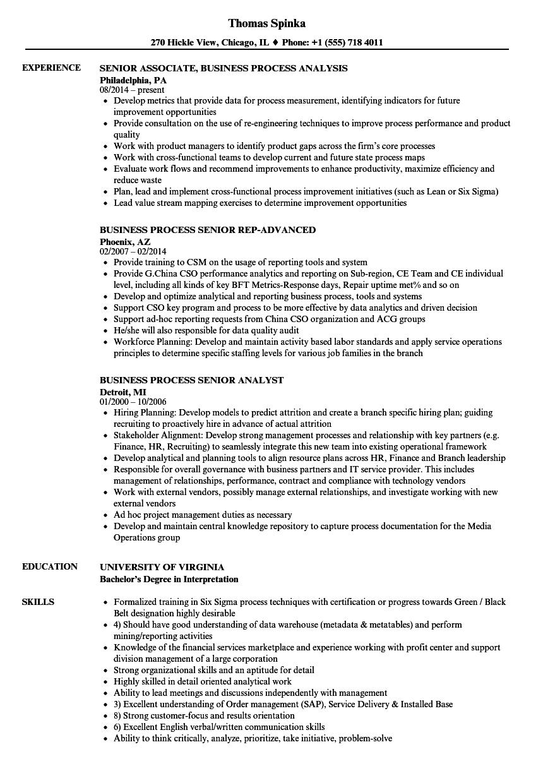 process improvement resume sample
