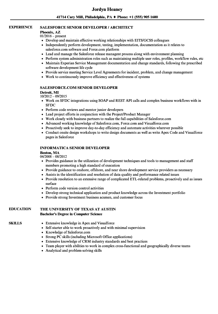 Senior C Developer Resume Samples Velvet Jobs