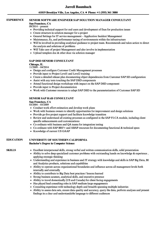 Senior Consultant SAP Resume Samples  Velvet Jobs
