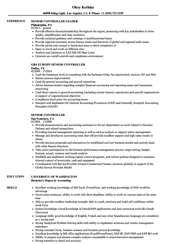 Senior Controller Resume Samples Velvet Jobs