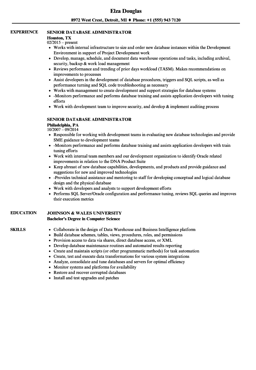 sql administrator resume sample