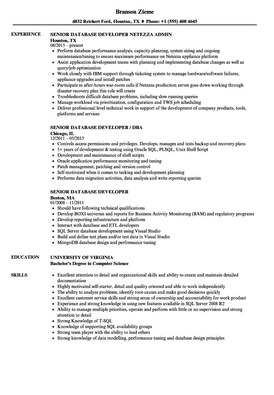 senior sql developer resume sample
