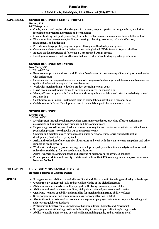 senior graphic designer resume sample