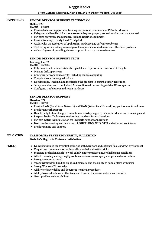 desktop support resume