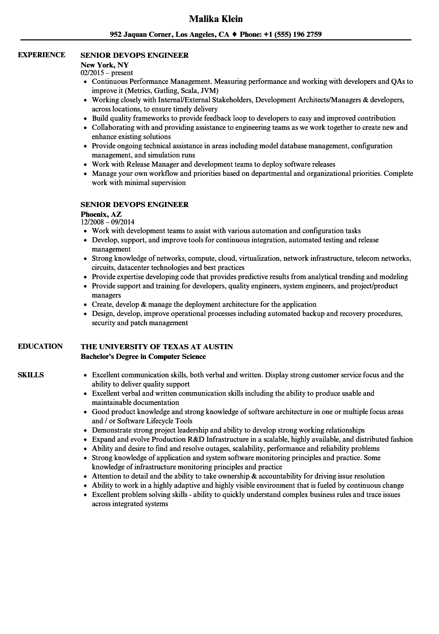 Senior Devops Engineer Resume Samples Velvet Jobs