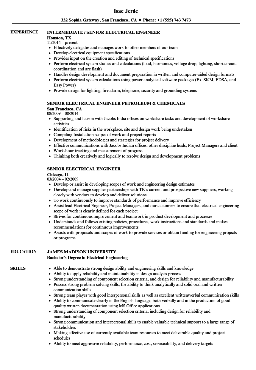 Senior Electrical Engineer Resume Samples Velvet Jobs