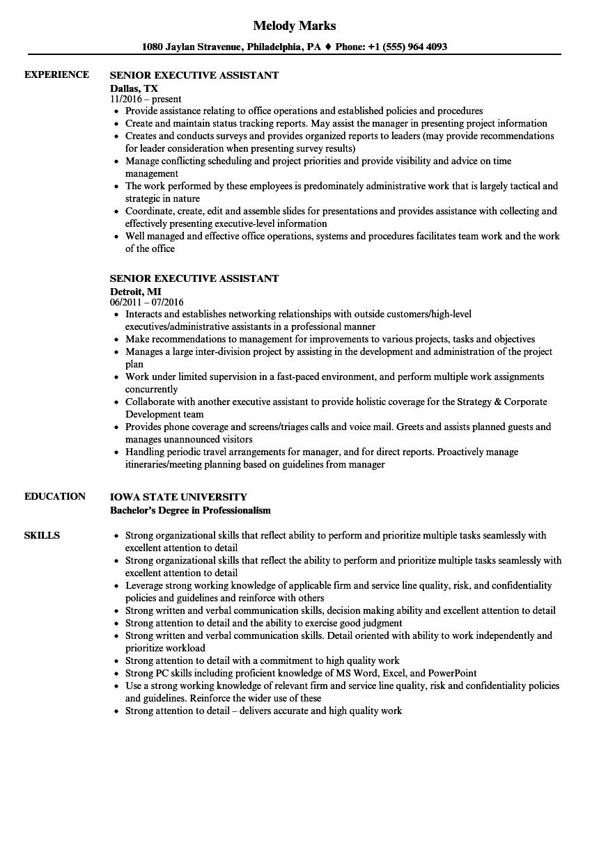 Senior Executive Assistant Resume Samples   Velvet Jobs