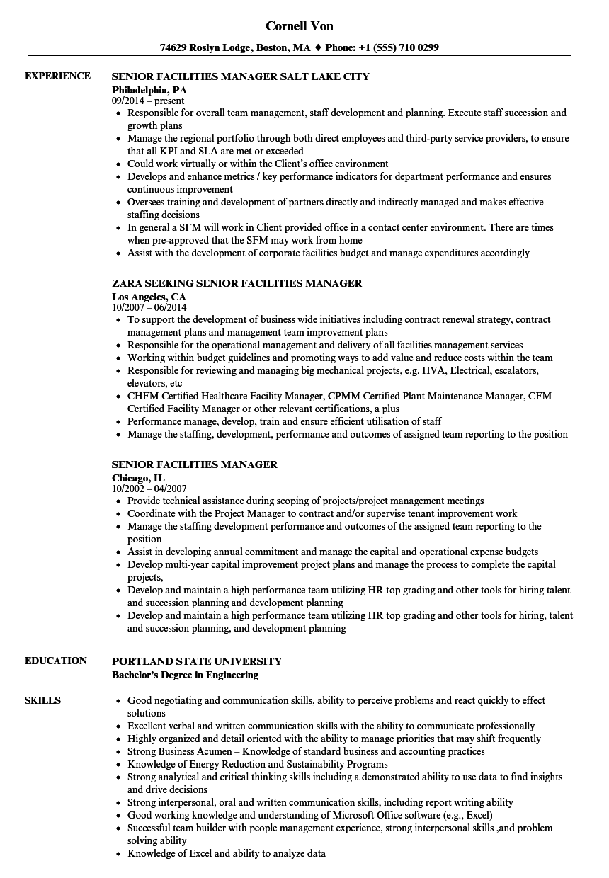 facilities coordinator resume
