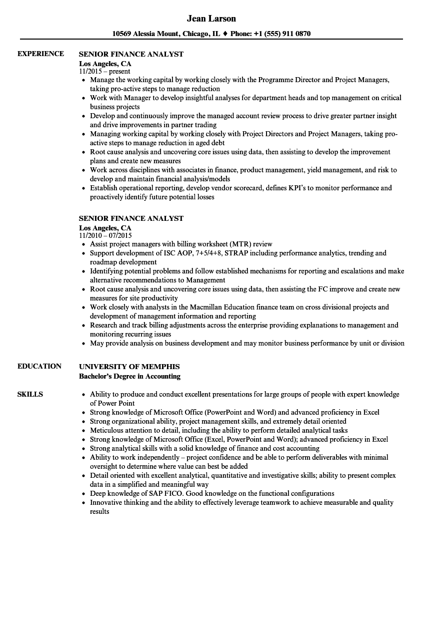 Senior Finance Analyst Resume Samples Velvet Jobs