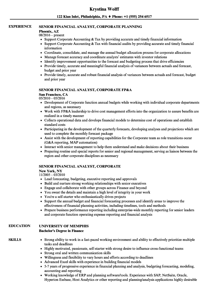 Senior Financial Analyst Corporate Resume Samples