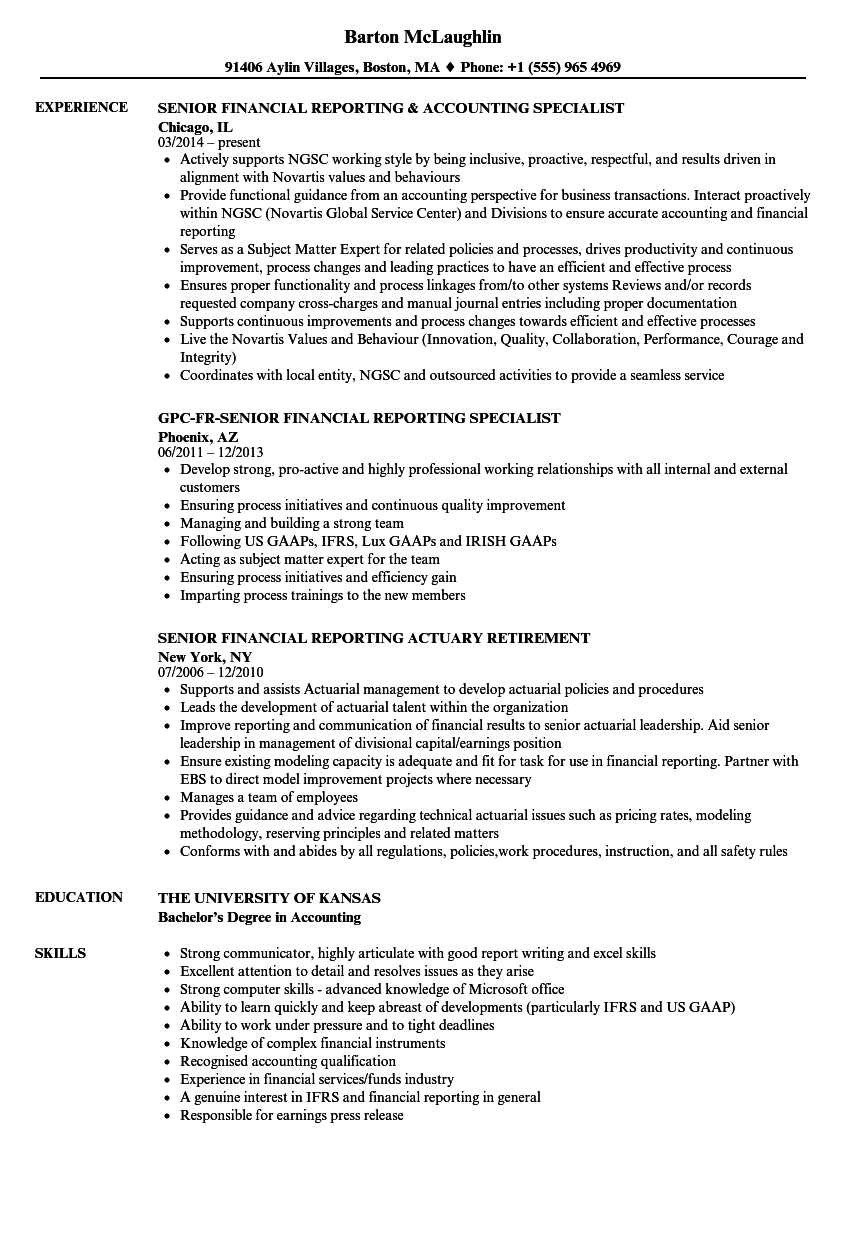 Senior Financial Reporting Resume Samples Velvet Jobs