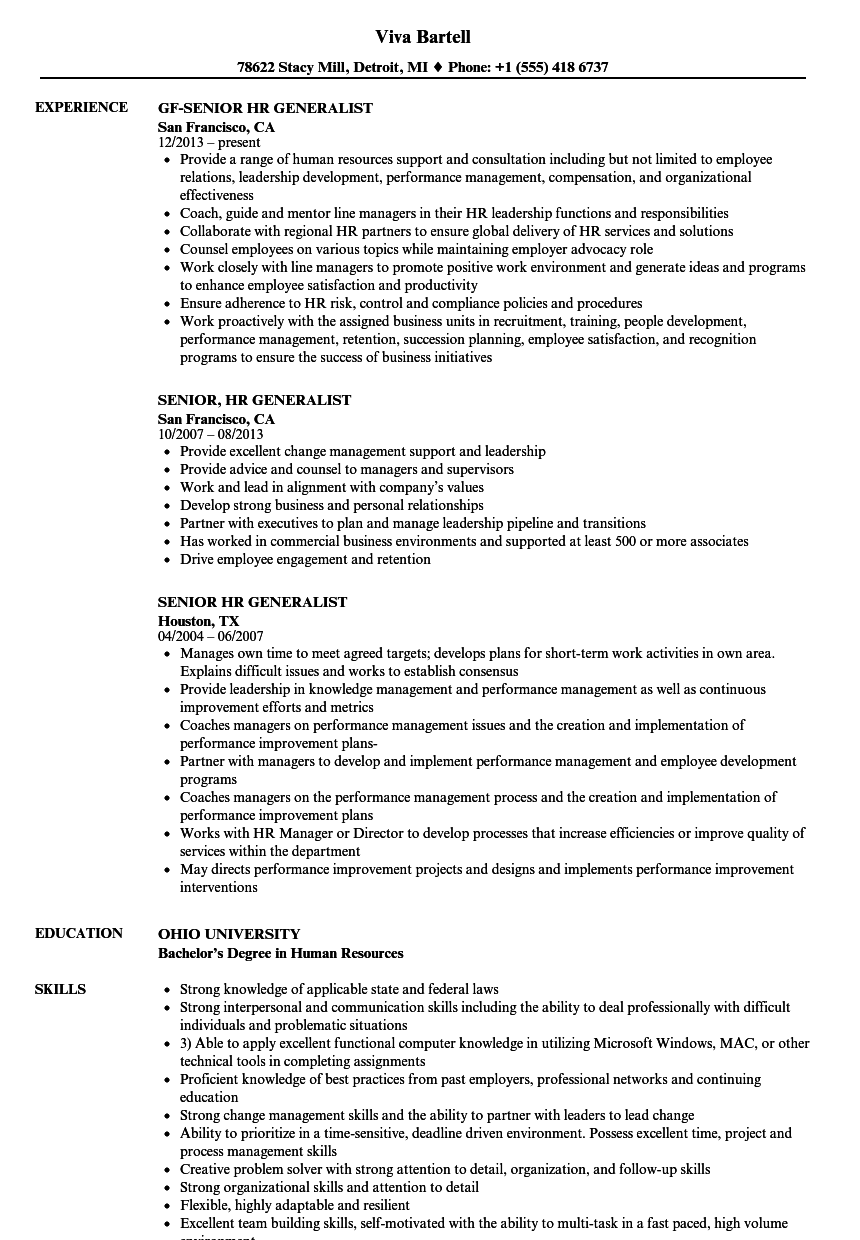 Senior HR Generalist Resume Samples Velvet Jobs