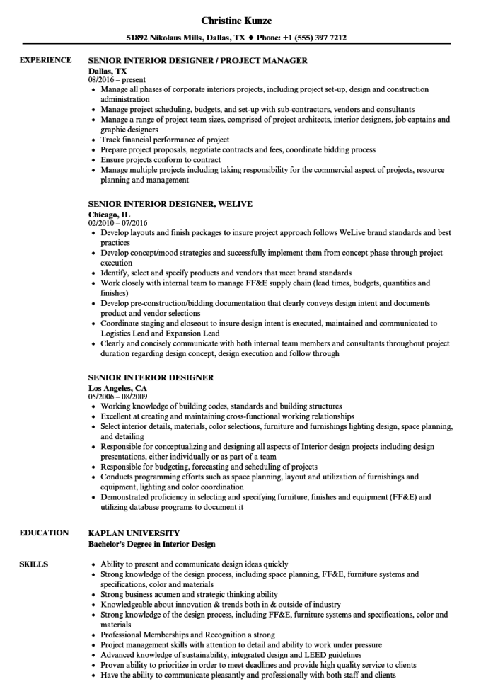 senior interior designer resume | www.microfinanceindia.org