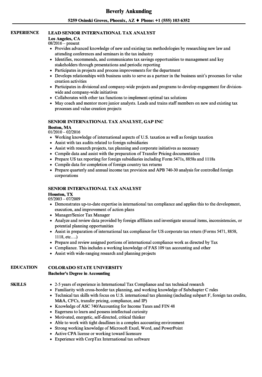 Senior International Tax Analyst Resume Samples Velvet Jobs