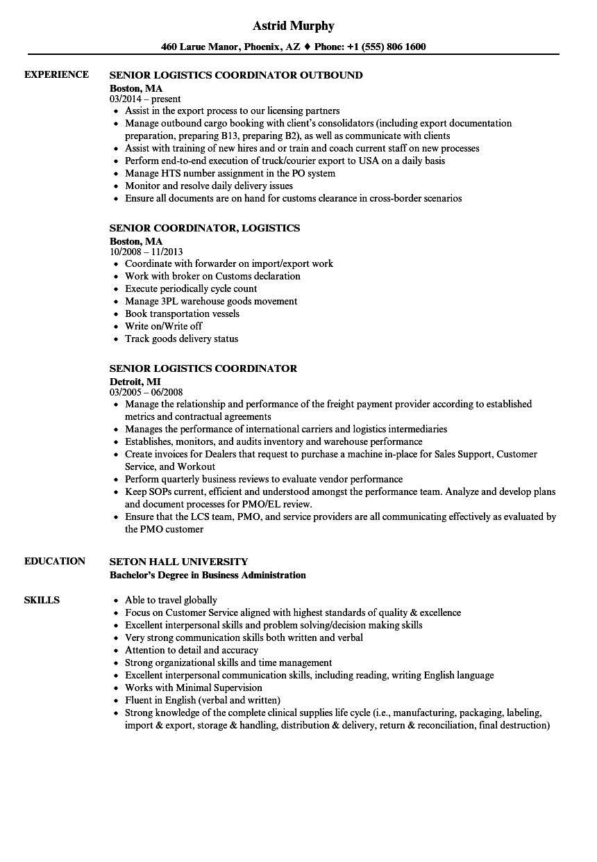 shipping coordinator resume sample