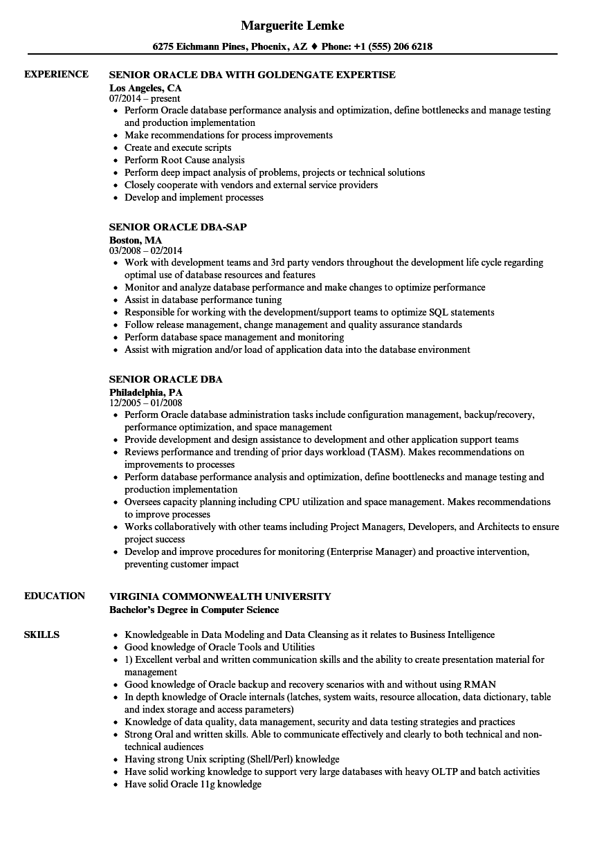 oracle dba one year experience resume sample