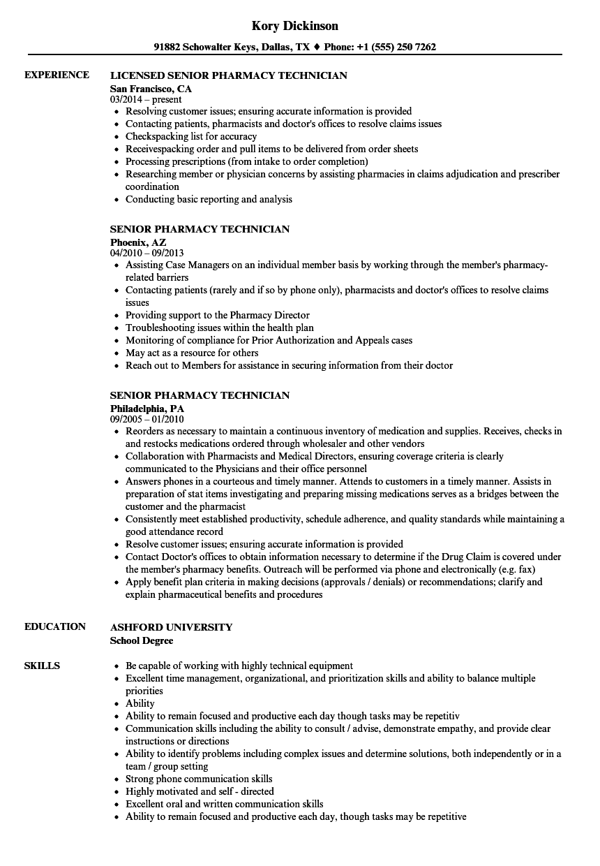 Senior Pharmacy Technician Resume Samples  Velvet Jobs