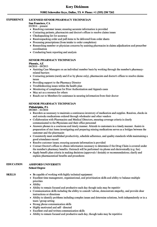 senior certified pharmacy technician resume sample