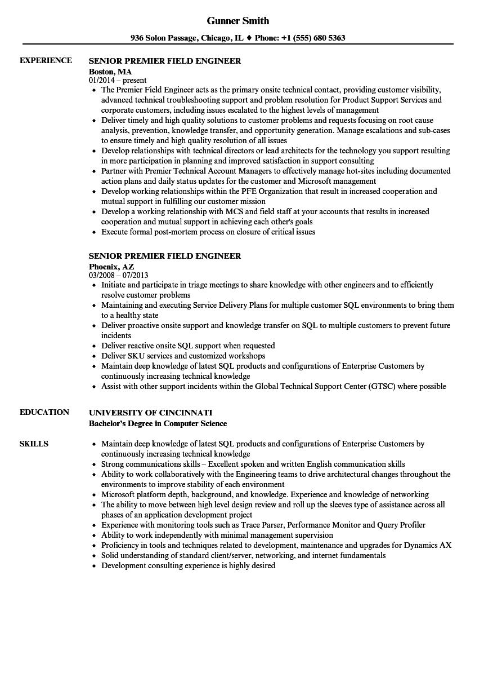 Field Engineer Resume  duynvaerdernl