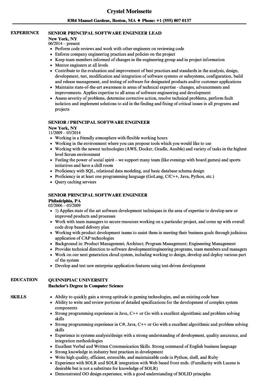 resume sample for senior software engineer