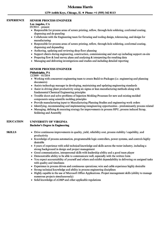 sample senior mechanical engineer resume