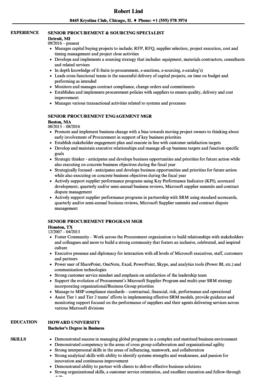 Senior Procurement Resume Samples Velvet Jobs