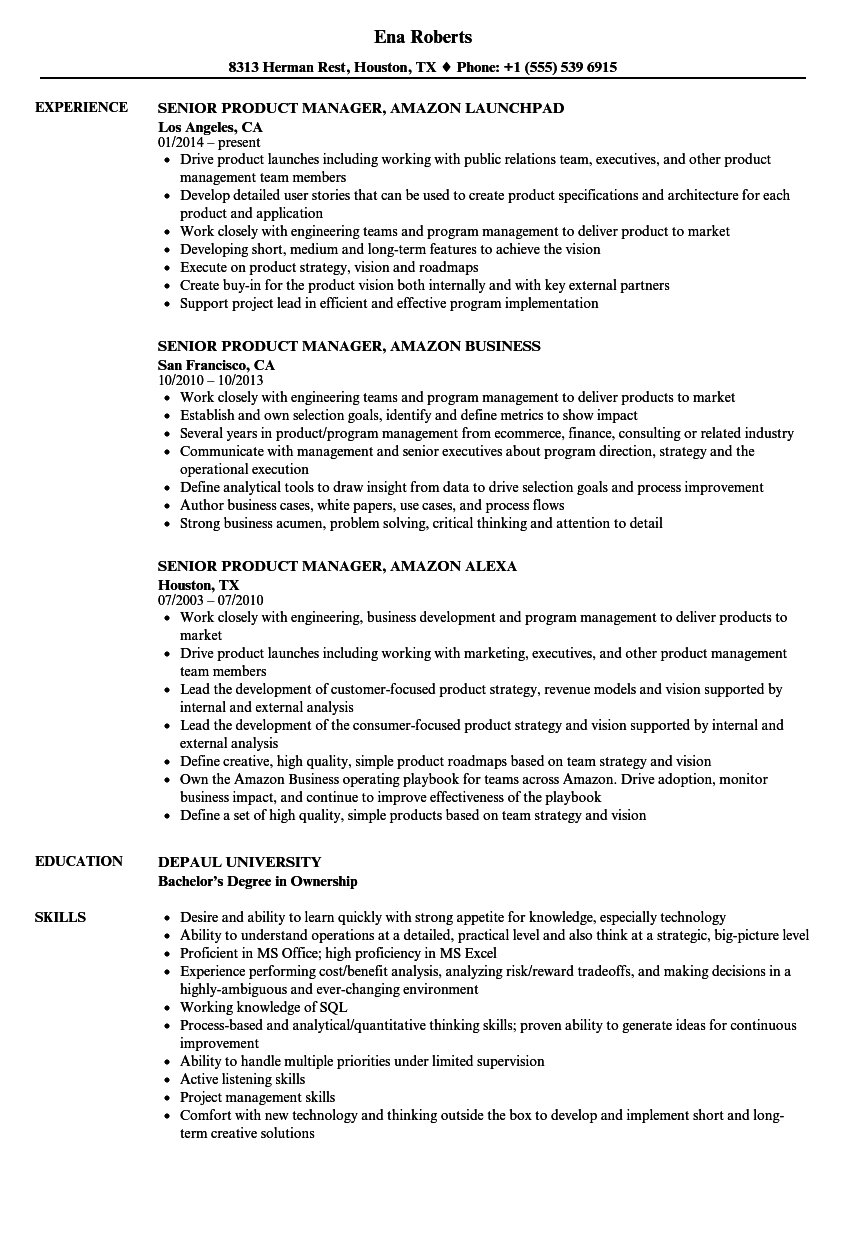 Download Senior Product Manager, Amazon Resume Sample As Image File