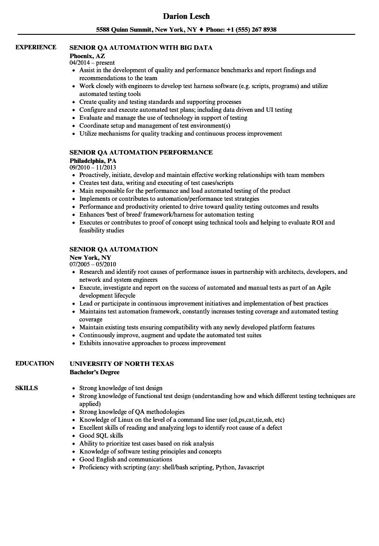 sample resume for qa cloud