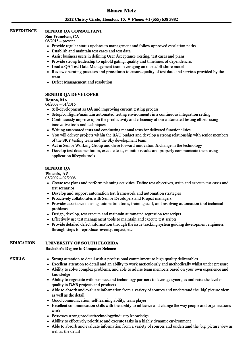sample senior qa analyst resume