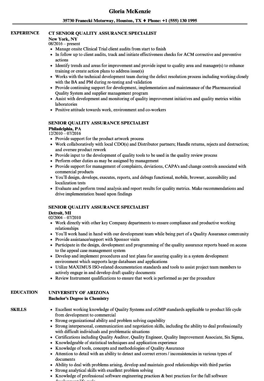 Senior Quality Assurance Specialist Resume Samples
