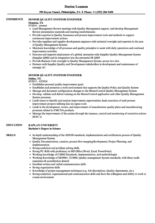 sample senior systems engineer resume