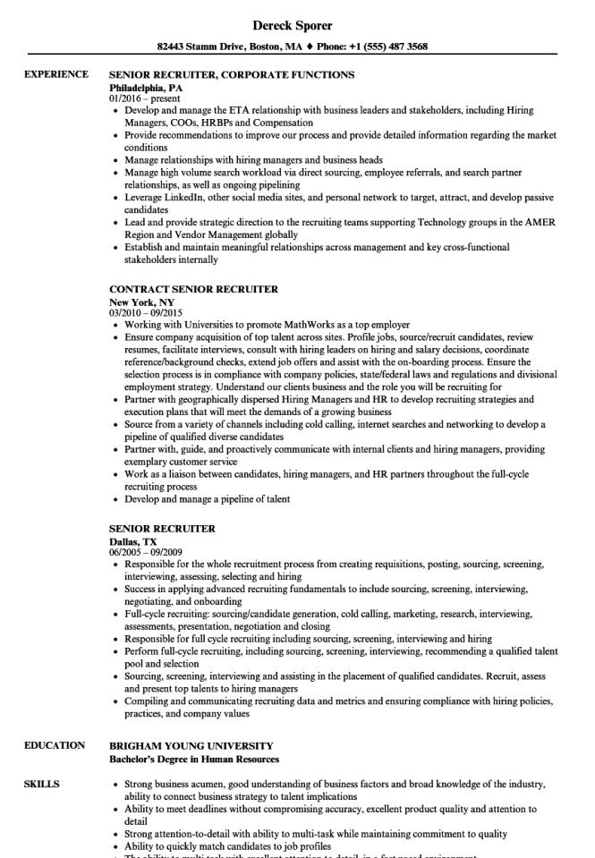 Recruiter Resume Templates Resume Sample