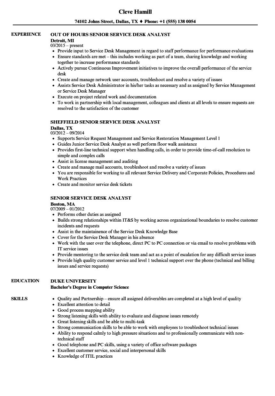 senior service desk analyst resume sample